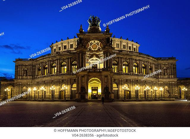 The picturesque Semperoper in Dresden at twilight, Saxony, Germany, Europe