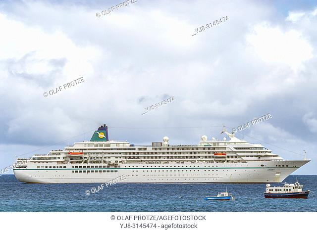 Cruise ship MV Amadea anchored at Georgetown, Ascension Island, West Africa