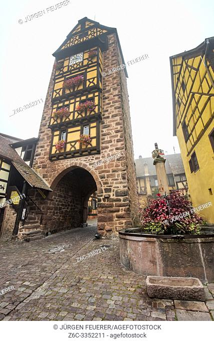 old town gate of the village Riquewihr with timberwork, Alsace Wine Route, France, the landmark Dolder tower and flower-bedecked well