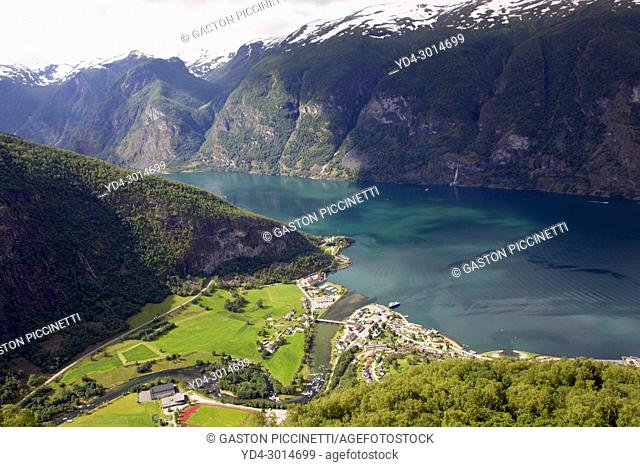 Aurland and Aurlandsfjord view from Stegastein viewpoint, Aurlandsfjellet National Tourist Route, Norway, Scandinavian