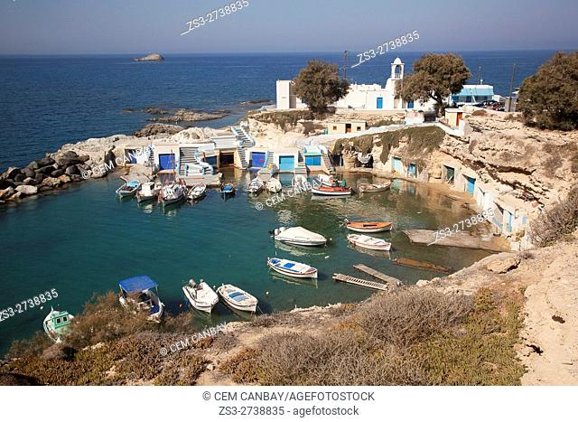 View to the small fisherman village called Mandrakia by the sea, Milos, Cyclades Islands, Greek Islands, Greece, Europe