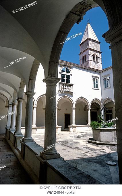 Interior of a cloister, Piran, Slovenia, Europe