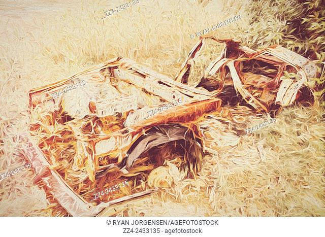 Fine art digital illustration of a dumped vintage car decomposing in a farmyard field after a nuclear radiation leak. Rotting radioactive car