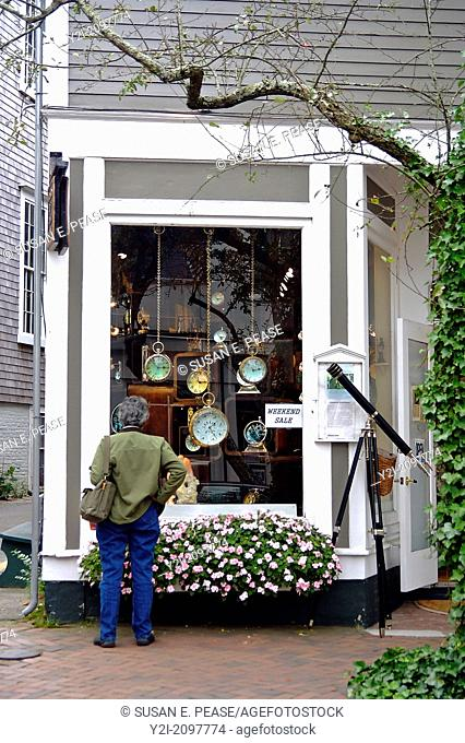 Window shopping at a store on Nantucket, Massachusetts, United States