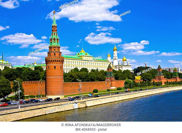 Moscow Kremlin on the bank of Moskva River with palace and cathedrals, Moscow, Russia
