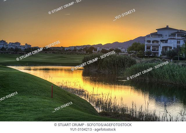 HDR image of a Sunset over the 11th fairway at Hacienda Riquelme Golf Course in Murcia Spain