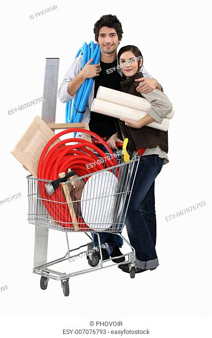 Couple shopping in DIY store
