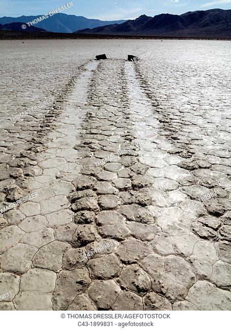 Tracks created by the mysterious moving rocks at the Racetrack  The Racetrack is a dry lakebed - a so-called playa - in the remote northern Death Valley  Death...
