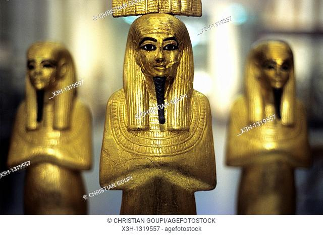 gold statuettes, tomb of Tutankhamun, Museum of Egyptian Antiquities, Cairo, Egypt, Africa