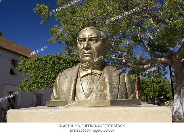 Bust sculpture of Benito Pablo Juárez García former president of Mexico. Plaza Juárez. Loreto, UNESCO World Heritage Site, Baja California Sur, Mexico