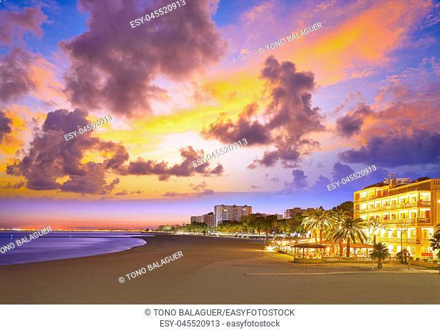 Benicassim beach sunset in Castellon of Spain also Benicasim at Mediterranean