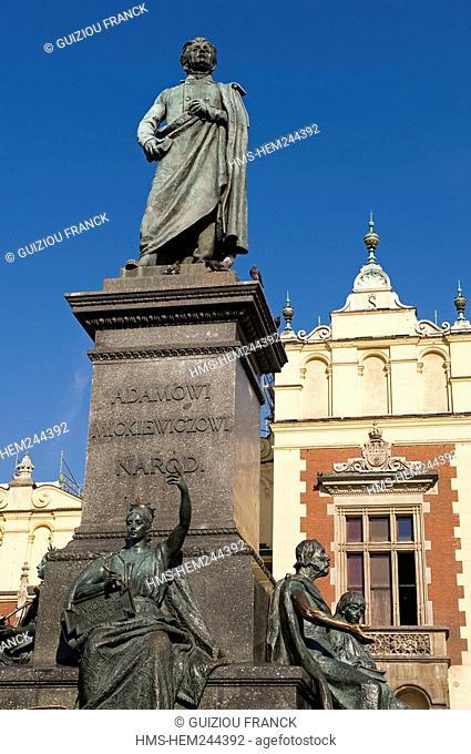 Poland, Lesser Poland region, Krakow, the statue of Adam Mickiewicz on the Market Square Rynek Glowny