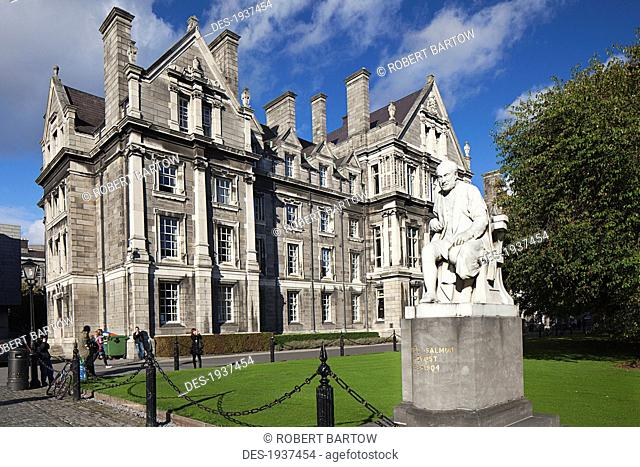 trinity college and the statue of george salmon provost of trinity college from 1819-1904 as taken from parliament square, dublin county dublin ireland