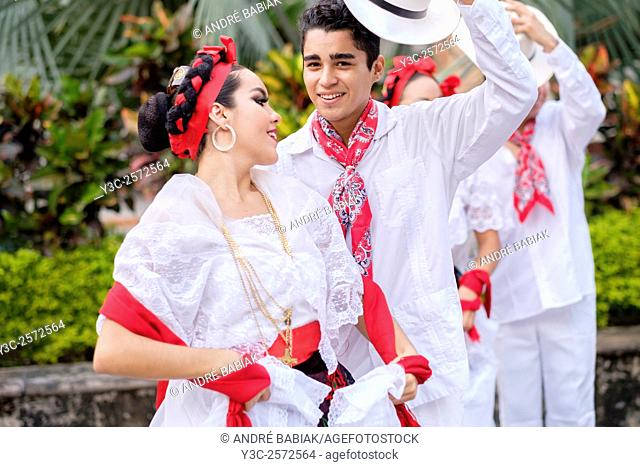 Young people in folkloristic costumes - Puerto Vallarta, Jalisco, Mexico. Xiutla Dancers - a folkloristic Mexican dance group in traditional costumes...