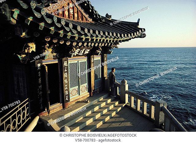Sunrise on the Sea of Japan, Naksansa temple. South Korea