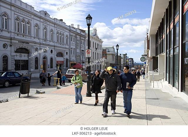 People strolling along main street of Punta Arenas, Magallanes y de la Antartica Chilena, Patagonia, Chile, South America, America