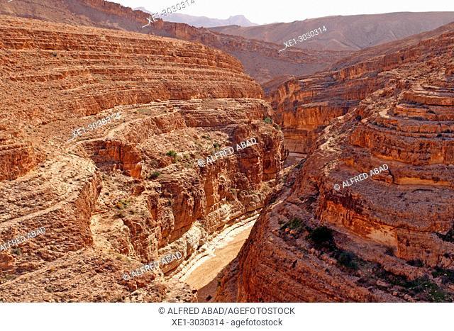 Mides canyon, gorge on the rocks, Tunisia