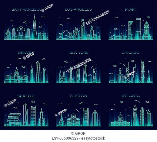 American cities San Francisco New York Chicago Los Angeles Miami Atlanta Boston Seattle Denver skylines detailed silhouette Trendy vector illustration linear...