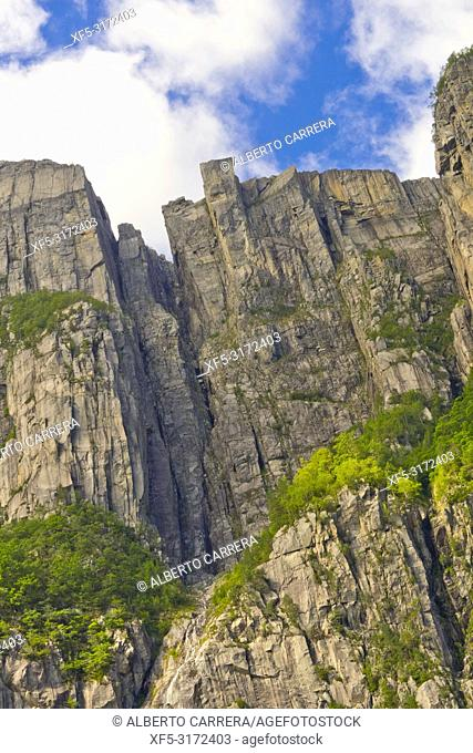 Pulpit Rock, Prekestolen, Lysefjord, North Sea, Stavanger, Norway, Scandinavia, Europe