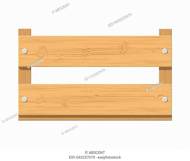 Wooden fruit box. Product drawer front view. Wooden carte for transportation and storage food. Vector illustration in flat style