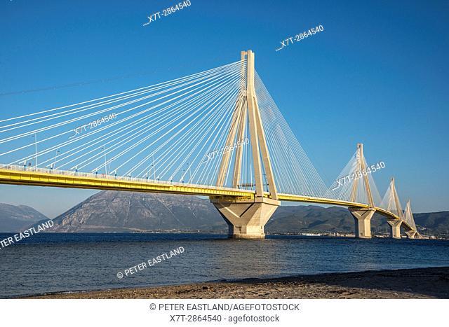 The Rio - Antirrio bridge, near Patras, linking the Peloponnese with mainland Greece accross the Gulf of Korinth