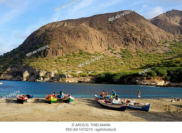 Fishermen and Fisching Boats, Beach of Tarrafal, Monte Graciosa, Cape Verde, Africa