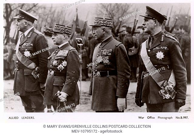 Allied Military Leaders - WWII era. General Gamelin, Commander-in-chief of the Allied Armies; General Sir Edmund Ironside