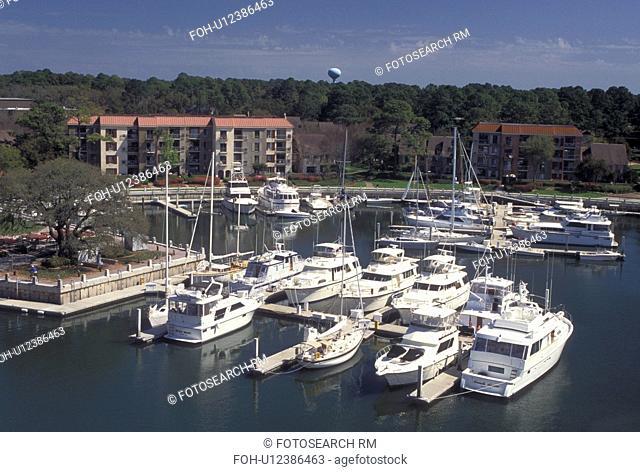 marina, Hilton Head, SC, South Carolina, Aerial view of Harbour Town Yacht Basin on Hilton Head Island