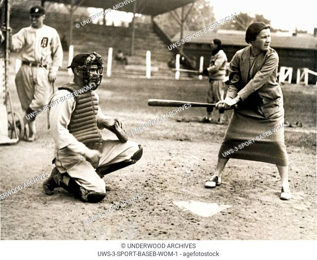 Augusta, Georgia: April 6, 1926.Tennis star Elizabeth Ryan tests her batting eye out at the Detroit Tigers spring training camp