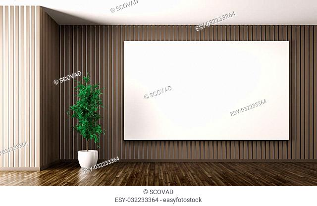Empty interior of living room with big poster on the brown wall and plant 3d render