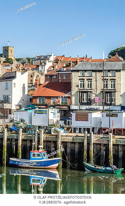 Fishing harbour of Scarborough a town on the North Sea coast of North Yorkshire, England