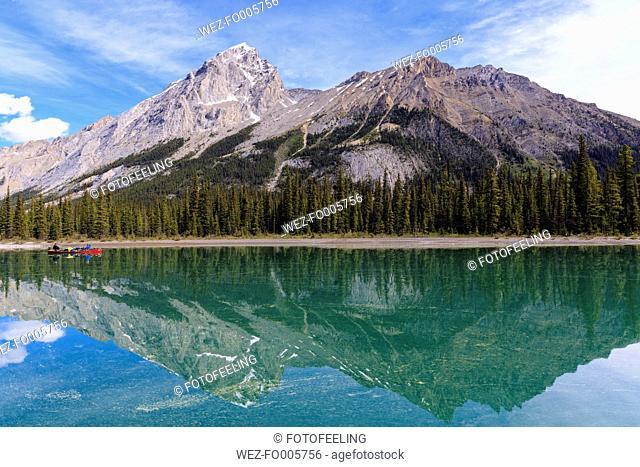 Canada, Alberta, Jasper National Park, Maligne Mountain, Canoe on Maligne Lake
