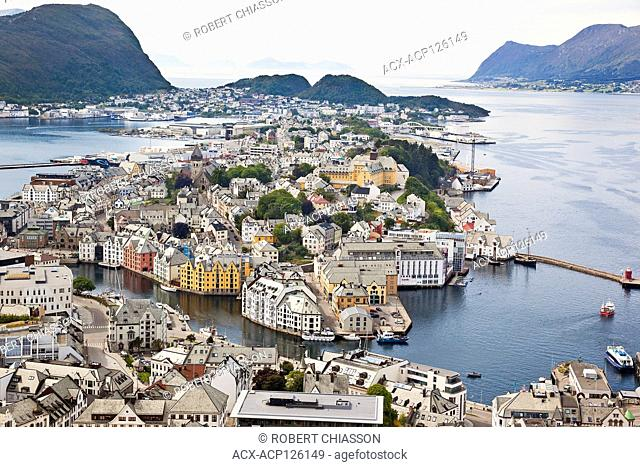 High-angle view of Alesund and surrounding islands from the Fjellstua lookout on top of Mount Aksla, Alesund, Norway