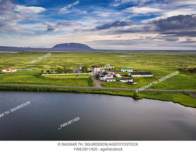 Sel Hotel Myvatn, Lake Myvatn, Northern Iceland. . Drone photography