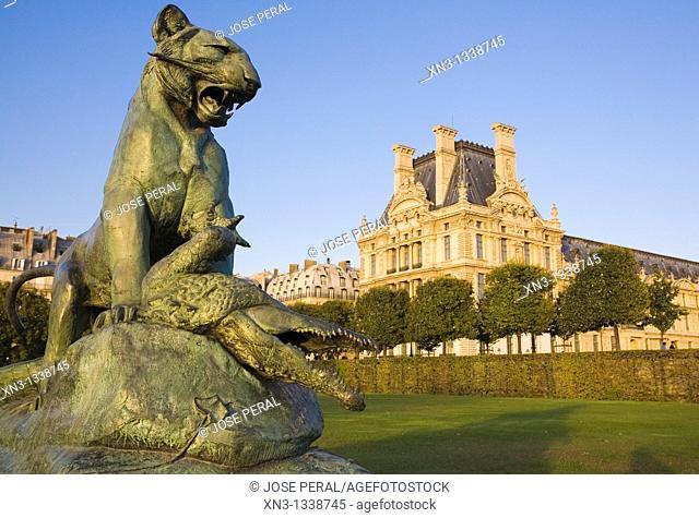 The Tiger and the Crocodile by Cain, Louvre Museum seen from Tuileries Garden, Paris, France