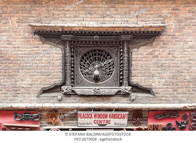 The peacock window, famous wood carving in the ancient city of Bhaktapur, Nepal