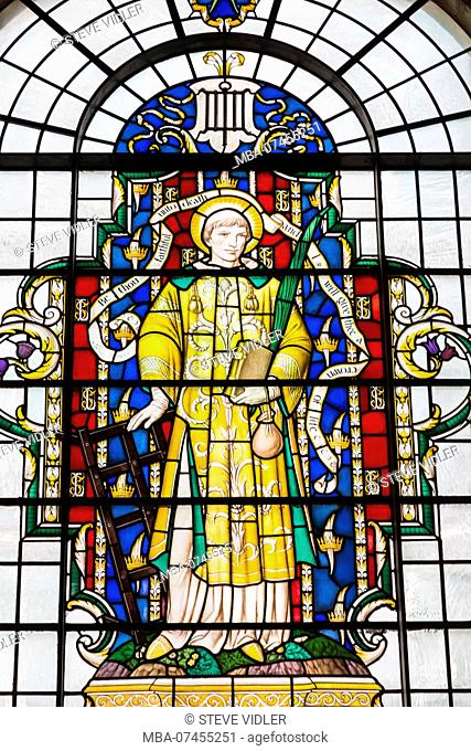 England, London, City of London, Guildhall, St Lawrence Jewry Church, Stained Glass Window depicting St Lawrence