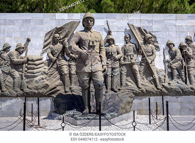 Relief works in Canakkale martyr memorial military cemetery that is a war memorial commemorating the service of about Turkish soldiers who participated at the...