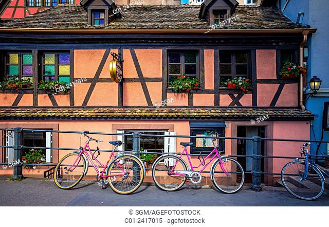 Bikes in front of ancient house La Petite France Strasbourg Alsace France