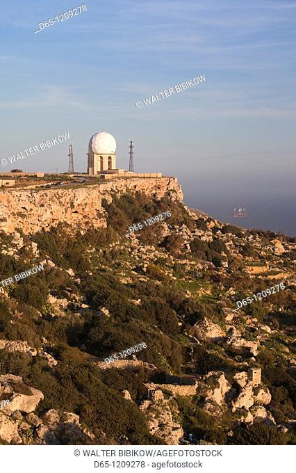 Malta, Central, Dingli, Dingli Cliffs, coastal cliff view, elev  220 meters, sunset