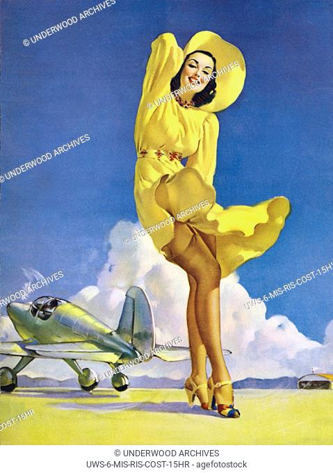 c. 1940.Tail Wind, one of famed pinup artist Gil Elvgren's paintings