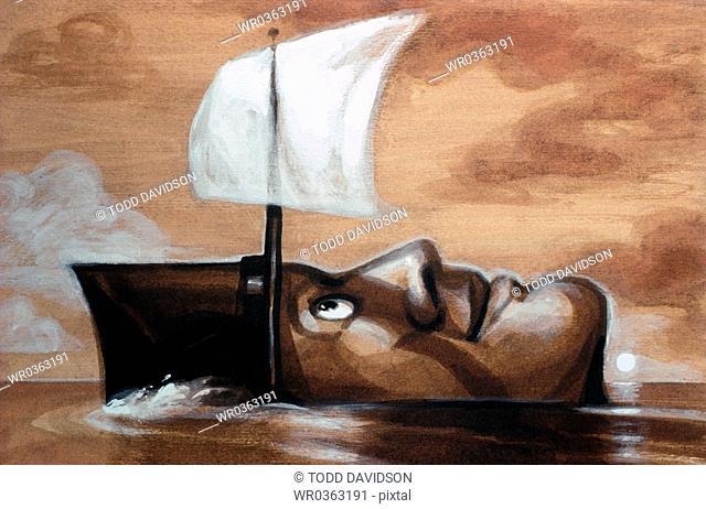 human head as boat