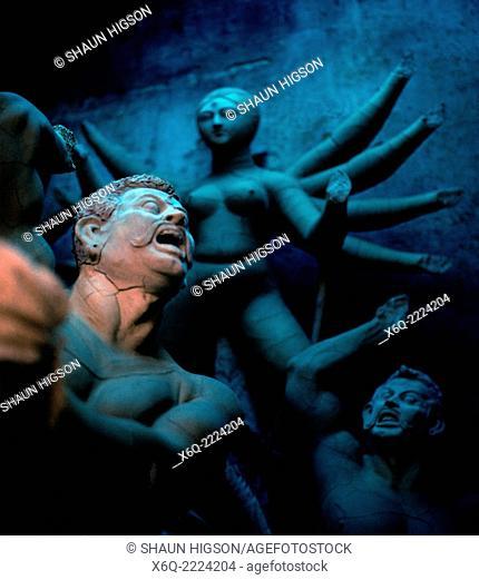 Hindu idols in Kumartuli or Kumortoli the potters' district in Calcutta Kolkata in West Bengal in India in South Asia