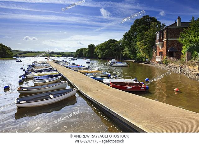 Boats moored on a creek off the River Dart at Stoke Gabriel in South Devon