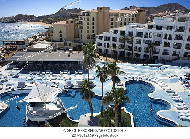 Pool area and rooms of Melia ME Cabo, Los Cabos, Sea of Cortez, Baja California, Mexico. This lifestyle resort is situated on the only swimmable beach in Los...