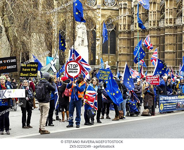 London 15 January 2019 - Leave and Remain supporters gather outside Parliament ahead of the crucial Brexit vote - London, England