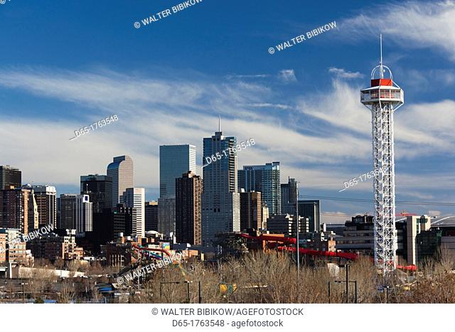 USA, Colorado, Denver, city view from the west, late afternoon with Elitch Gardens theme park tower