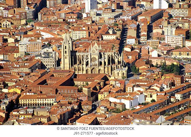 Aerial View of Leon and Cathedral. Castilla-Leon. Spain