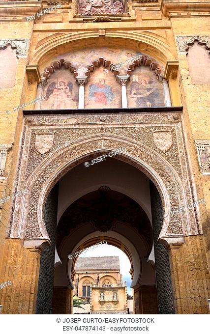 facade of the door of the el Perdon, Moorish facade of the Great Mosque in Cordoba, Andalusia, Spain