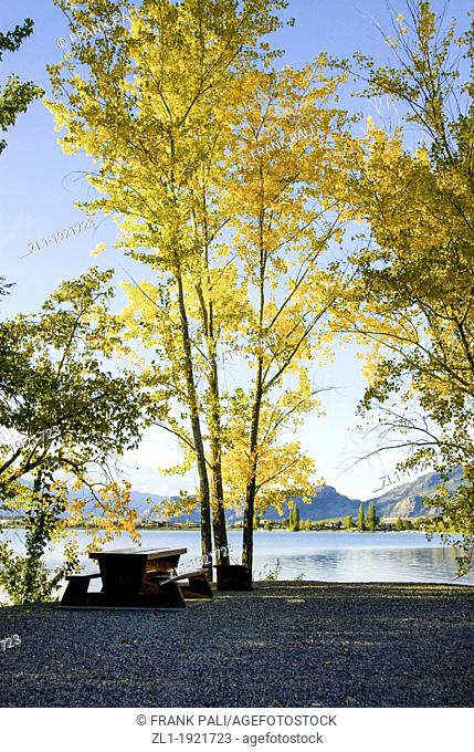 Fall campsite by the lake.Osoyoos British Columbia
